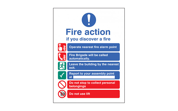 Fire Action Photoluminescent Vinyl Sign Fire Action Photoluminescent Vinyl Sign
