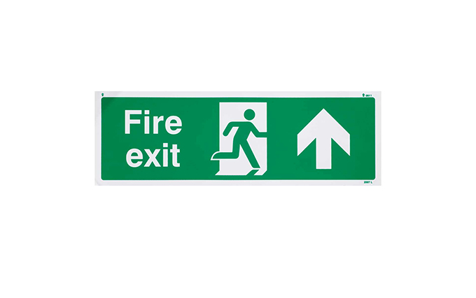 Fire Exit Up British Standard Vinyl Sign