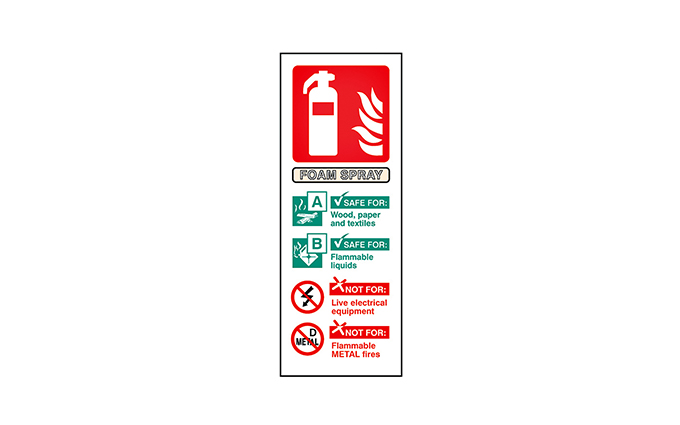 Foam Fire Extinguisher Vinyl Sign