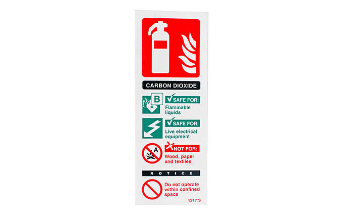 Carbon Dioxide Fire Extinguisher Vinyl Sign