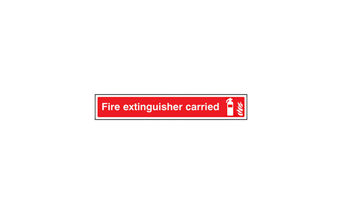 Fire Extinguisher Carried Window Sign