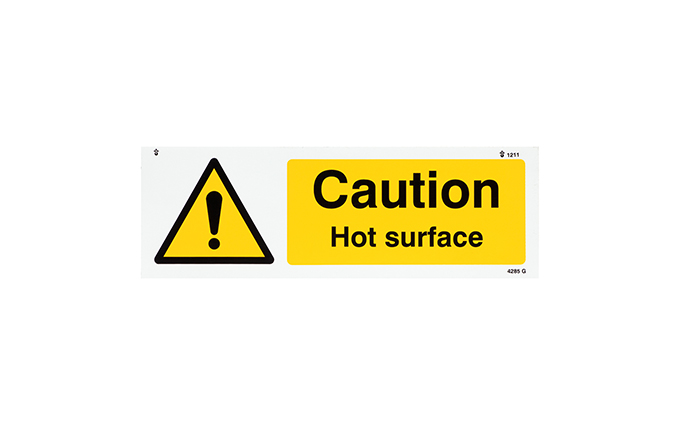 Caution Hot Surface Vinyl Sign