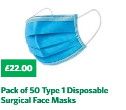 Pack of 50 Type I Disposable Surgical Face Masks