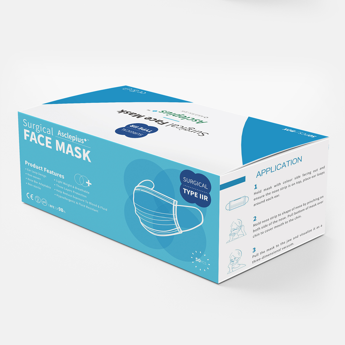 Pack of 50 Type IIR Disposable Surgical Face Mask