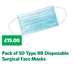 Pack of 50 Type IIR Disposable Surgical Face Masks