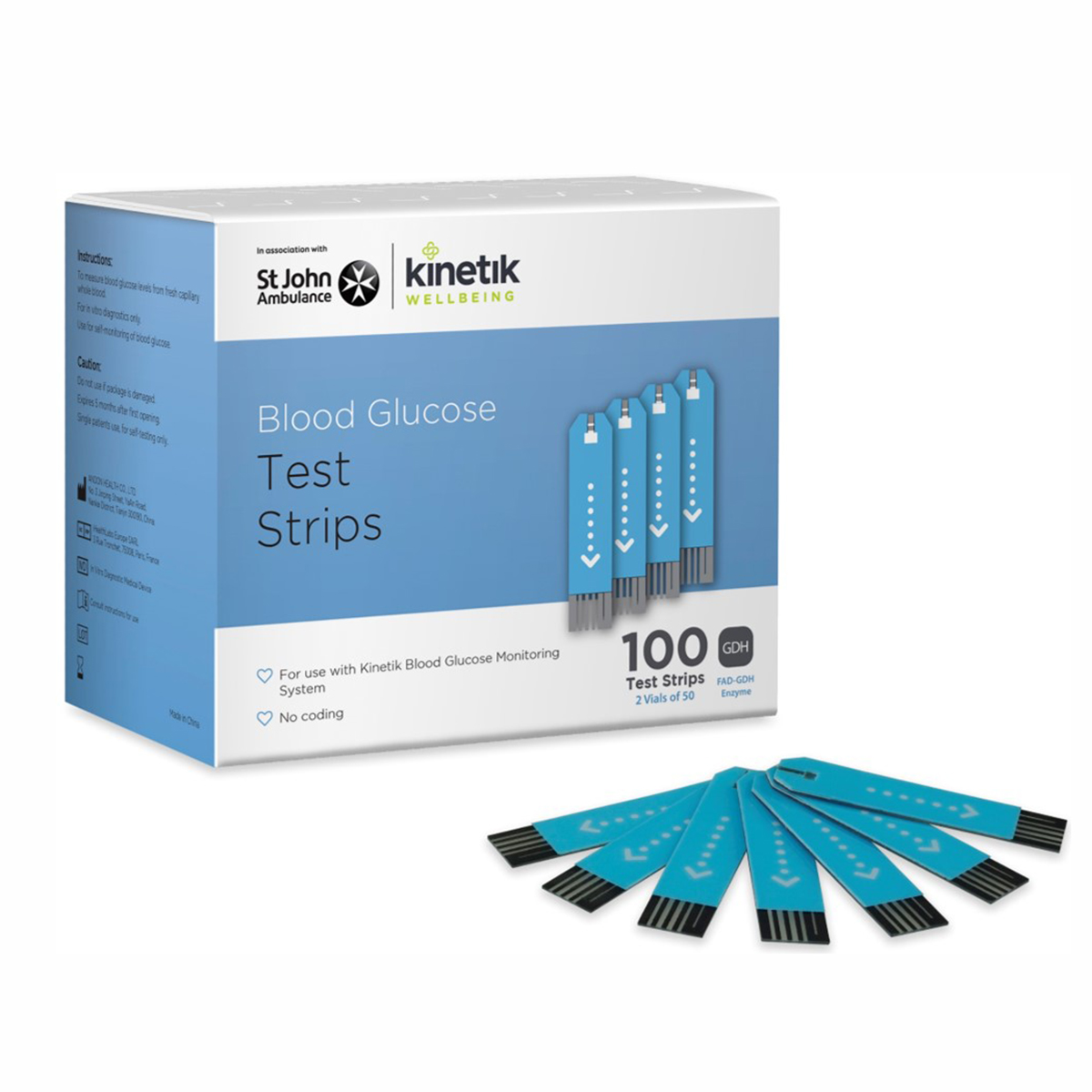Pack of 100 Kinetic Wellbeing Blood Glucose Test Strips