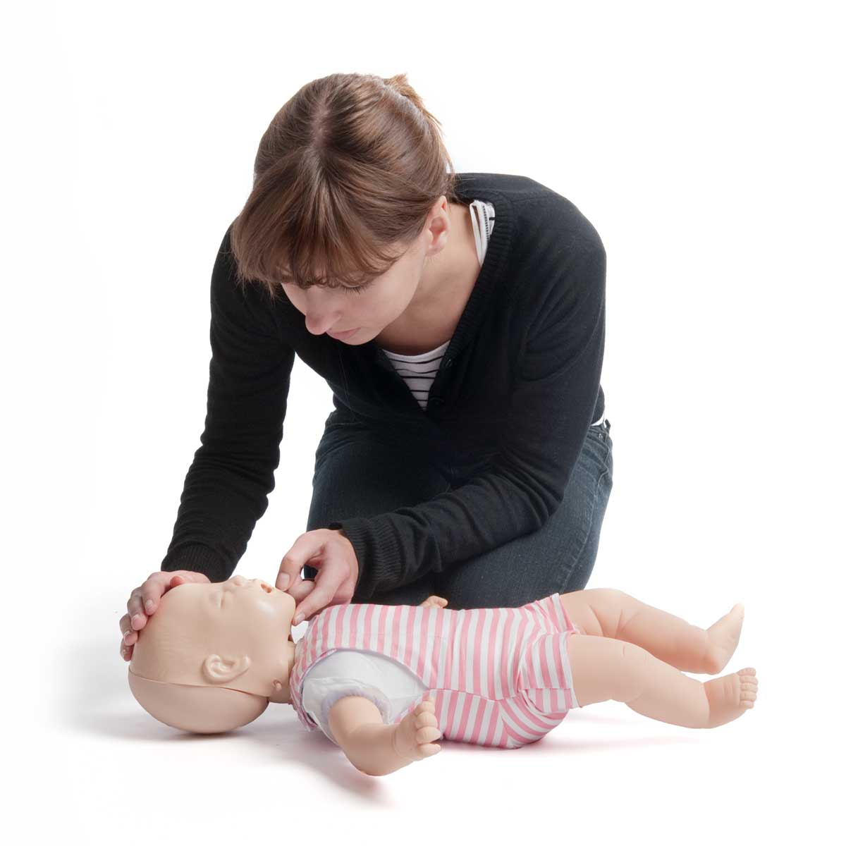 Pack of 4 Light Skin Laerdal Baby Anne™ CPR Training Manikins in use