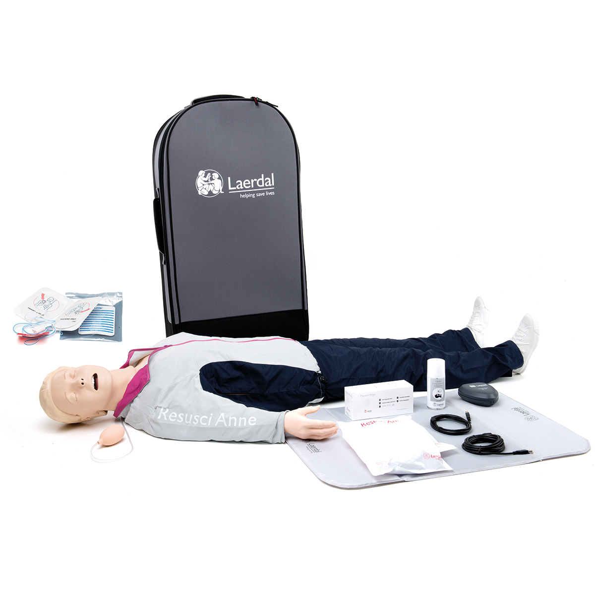 Laerdal Resusci® Anne QCPR AED Airway Head Full Body with Trolley Case